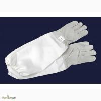 Перчатки кожаные с нарукавником Lux серые 240 грн