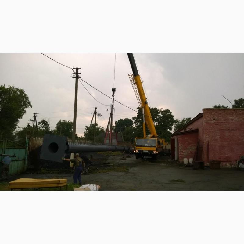 Фото 7. Возведение конструкций металлических дымовых труб
