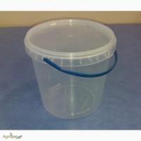 Ведро пластиковое с крышкой 1 литр