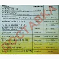 Минеральные удобрения Селитра, Карбамид, НПК, Амофос