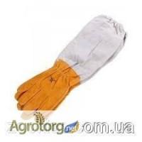 Перчатки жёлтые из натуральной кожи защитные с нарукавниками 240 грн