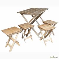 Дубовый раскладной стол и складные стулья для пикника, дачи и туризма (трансформер)